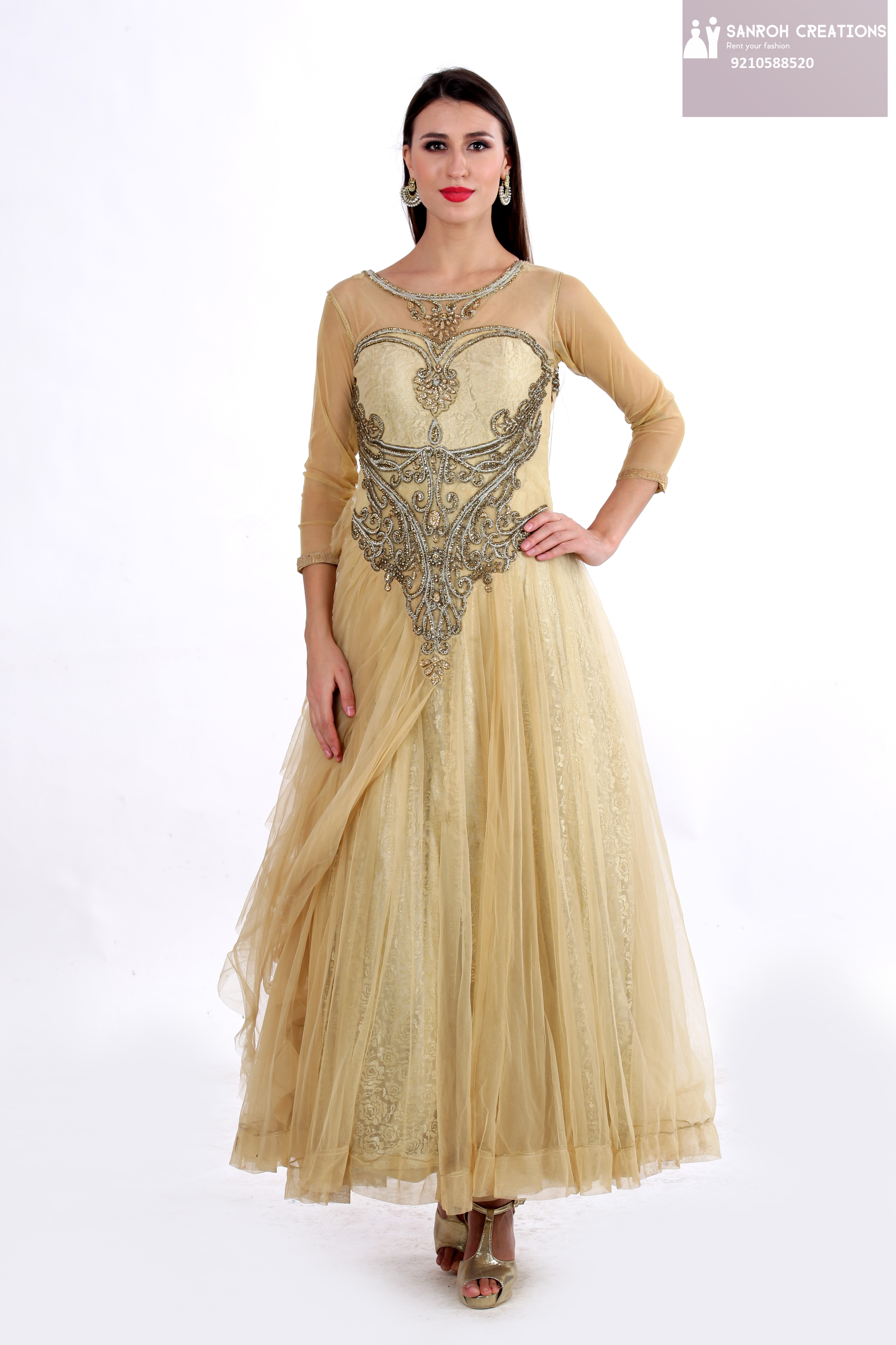 GOLD GOWN ON RENT IN CHATTARPUR