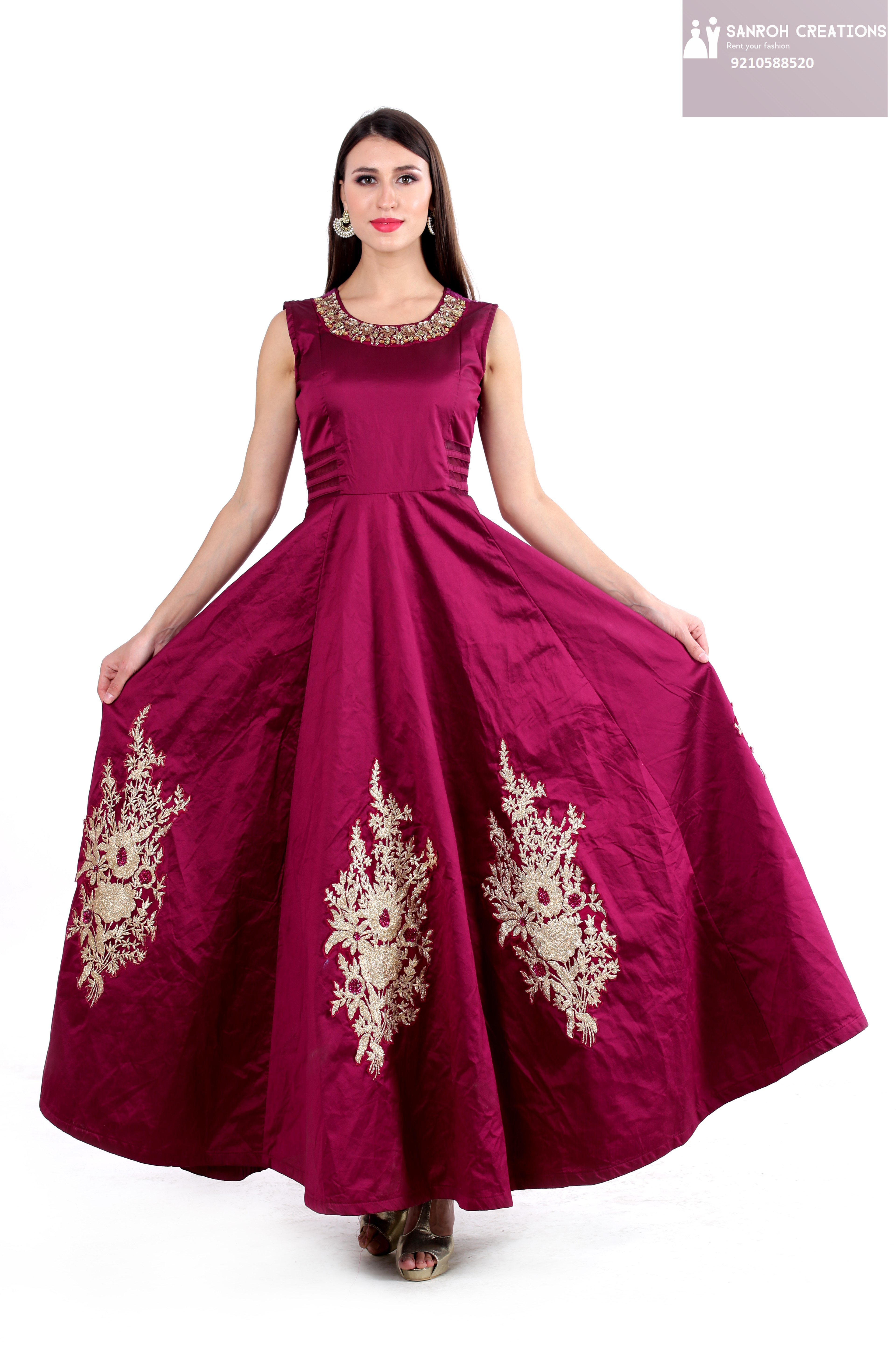 GOLD GOWN ON RENT IN GURGAON SECTOR 14